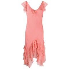 Light Pink Silk Cristian Dior Cocktail Dress