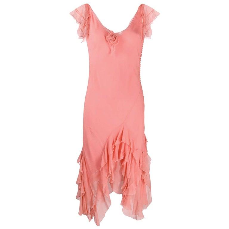 Light Pink Silk Cristian Dior Cocktail Dress For Sale
