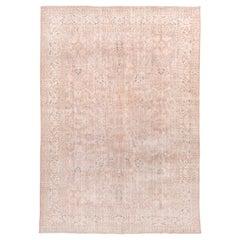Light Pink Turkish Oushak Carpet, Ivory Borders