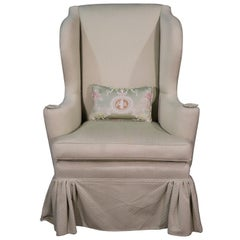 Light Sage Green Upholstered Tall Mahogany Georgian Wing Parlor Fireside Chair