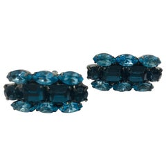Light Sapphire and Montana Blue Sapphire Austrian Crystal Cuff Links