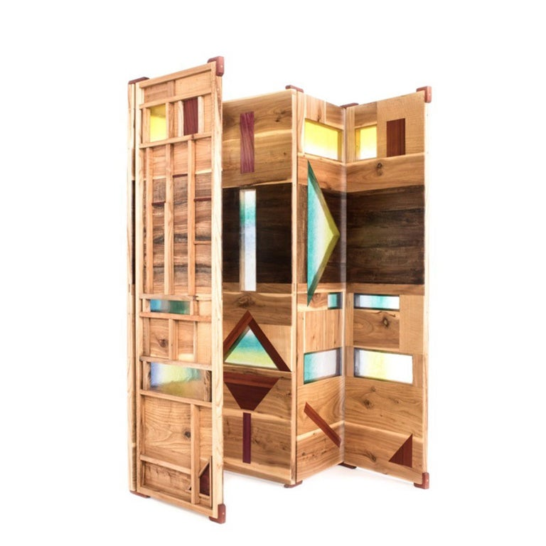 Modern 'Light Tropics' Wood Screen with Mutlicolor Murano Glass by Hillsideout For Sale