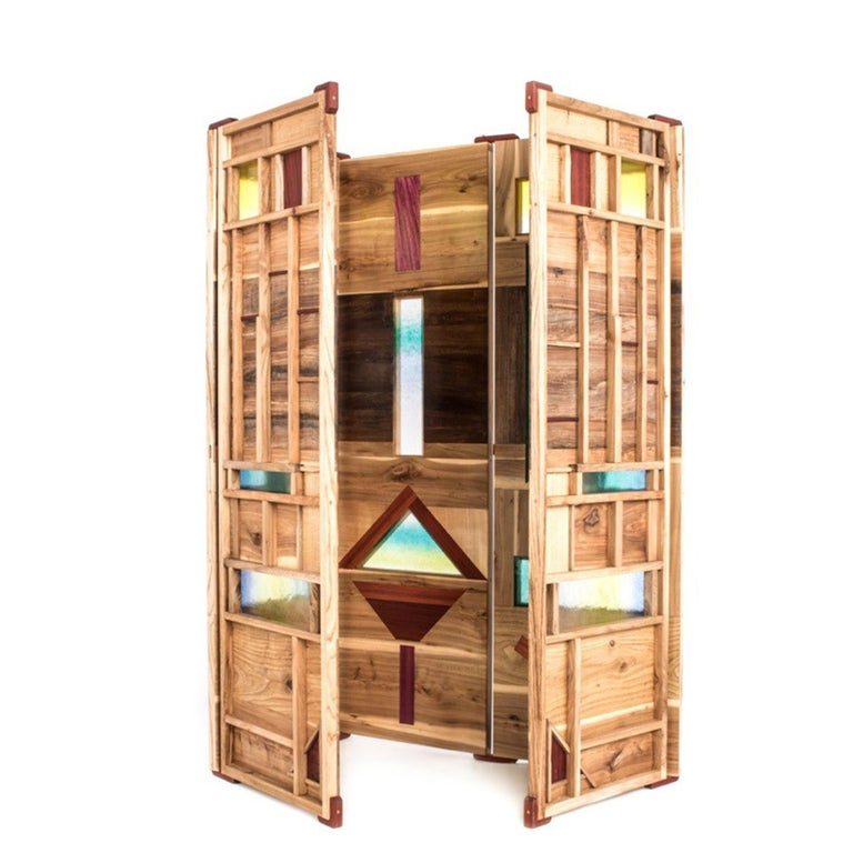 Italian 'Light Tropics' Wood Screen with Mutlicolor Murano Glass by Hillsideout For Sale