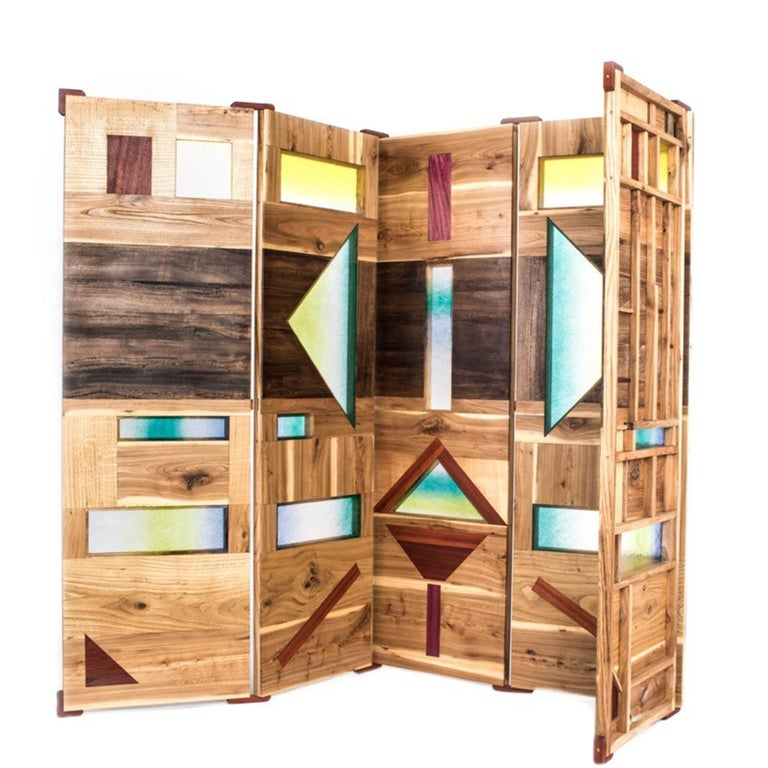 'Light Tropics' Wood Screen with Mutlicolor Murano Glass by Hillsideout In New Condition For Sale In Milan, IT