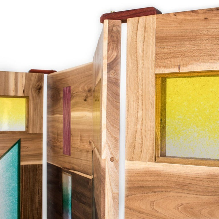 Contemporary 'Light Tropics' Wood Screen with Mutlicolor Murano Glass by Hillsideout For Sale