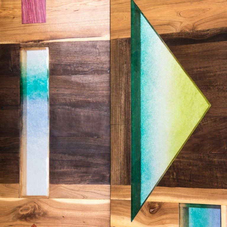 'Light Tropics' Wood Screen with Mutlicolor Murano Glass by Hillsideout For Sale 1