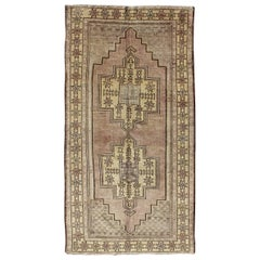 Light Turkish Oushak Rug with Dual Medallion Design