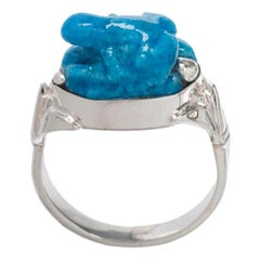 Light Turquoise Egyptian Faience Frog Ring Sterling Silver Egyptian Motif