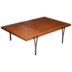 Light Walnut and Black Steel Y-Leg Coffee Table by Lawson-Fenning