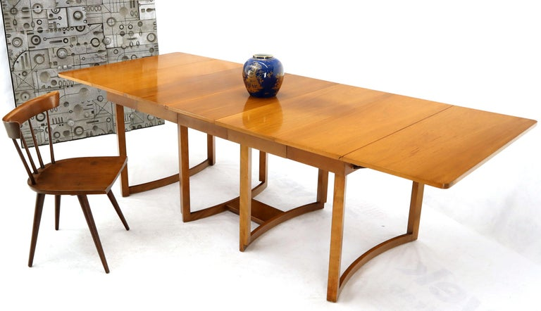Midcentury Light Walnut Drop Leaf Expandable Dining Table Three Leafs Boards For Sale At 1stdibs