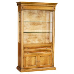 Light Walnut Vintage Bookcase Display Cabinet with Glass Shelves & Cupboard Base