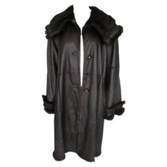 Light Weight Metallic Brown Leather Fur Swing Coat