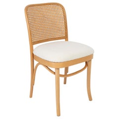 Light White Boucle Thonet Wood Rattan Chair, 1960s
