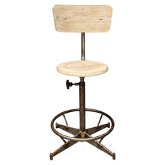 Antique Industrial Light Wood and Metal Adjustable Swivel High Chair
