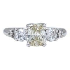 Light Yellow Cushion Diamond Engagement Ring 1.51 Carat 14 Karat White Gold