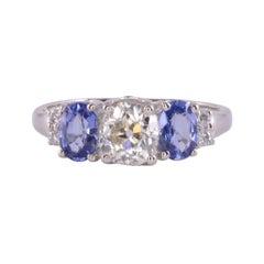 Light Yellow Diamond & Sapphire Ring