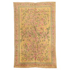 Light Yellow French Art Nouveau Rug with Roses