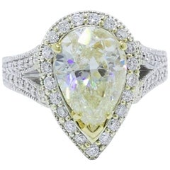 Light Yellow Pear Shape 5.23 TCW Diamond Engagement Ring in 14k White Gold