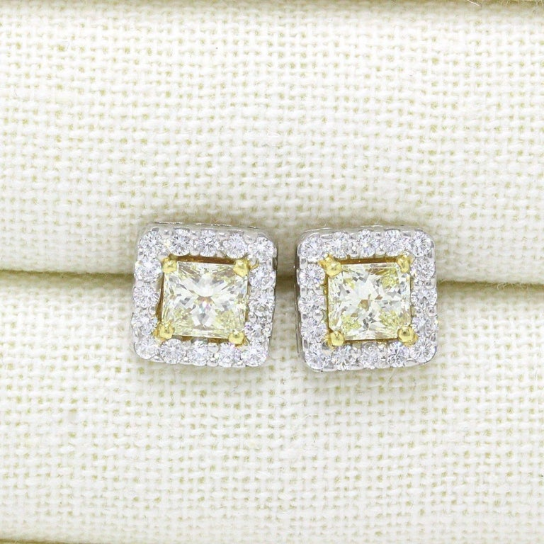 Princess Cut Light Yellow Princess Halo 3.96 TCW Diamond Earrings in 18K White & Yellow Gold For Sale