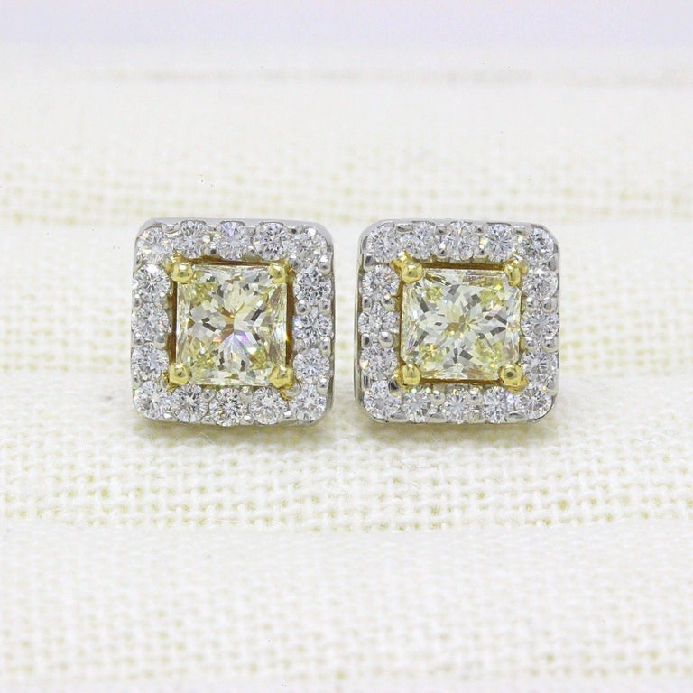 Light Yellow Princess Halo 3.96 TCW Diamond Earrings in 18K White & Yellow Gold For Sale 2