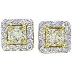 Light Yellow Princess Halo 3.96 TCW Diamond Earrings in 18K White & Yellow Gold
