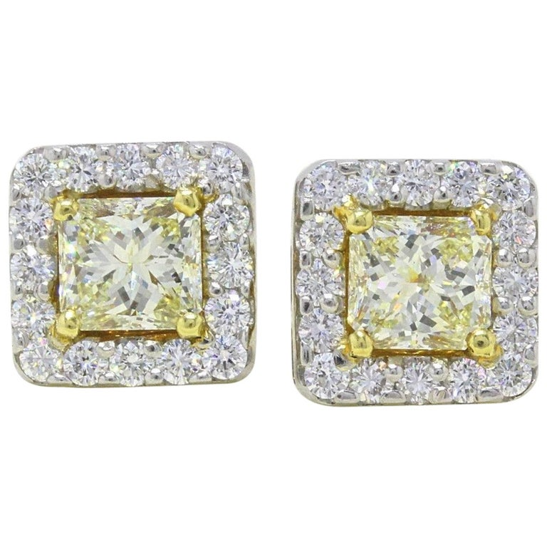 Light Yellow Princess Halo 3.96 TCW Diamond Earrings in 18K White & Yellow Gold For Sale
