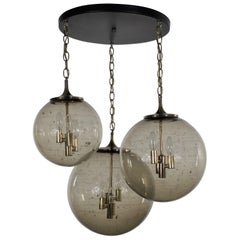 Lightcraft of California Chandelier with 3 Cascading Smoke Glass Orb Globes