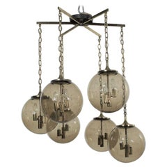 Lightcraft of California Chandelier with 6 Cascading Smoke Glass Orb Globes