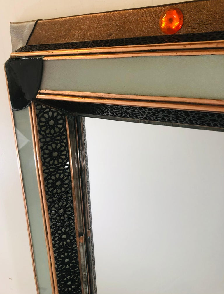 Lighted Art Deco Style Vanity Mirror or Wall Mirror In Good Condition For Sale In Plainview, NY