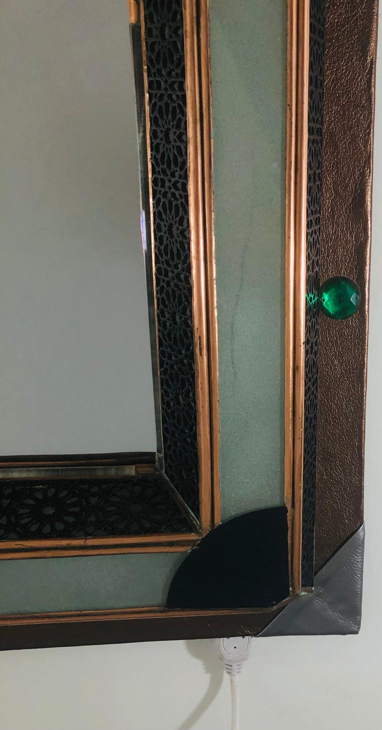 Lighted Art Deco Style Vanity Mirror or Wall Mirror For Sale 5