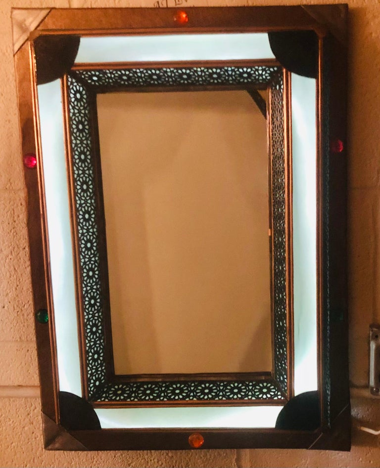 Lighted Art Deco Style Vanity Mirror or Wall Mirror For Sale 8