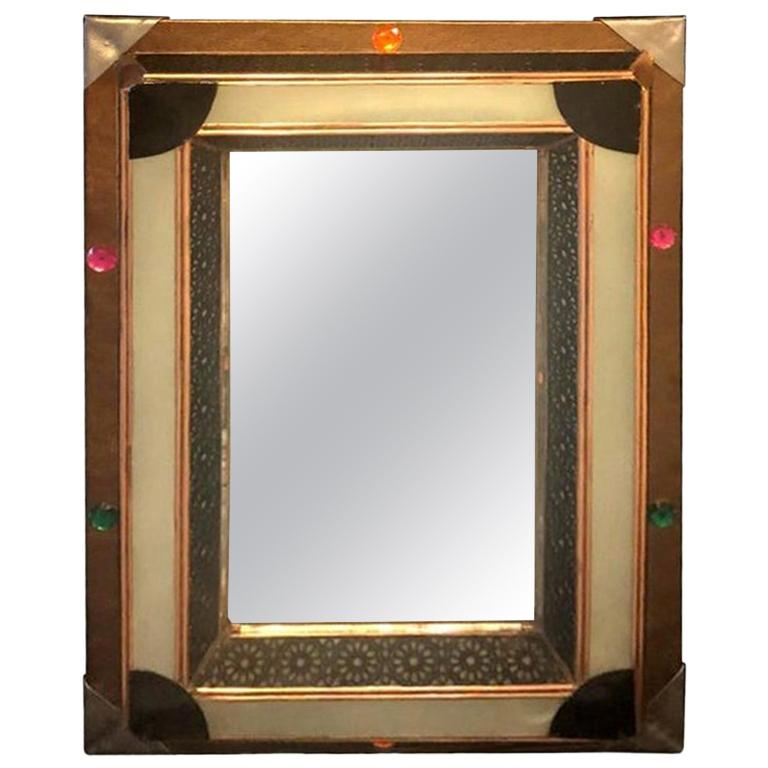 Lighted Art Deco Style Vanity Mirror or Wall Mirror For Sale