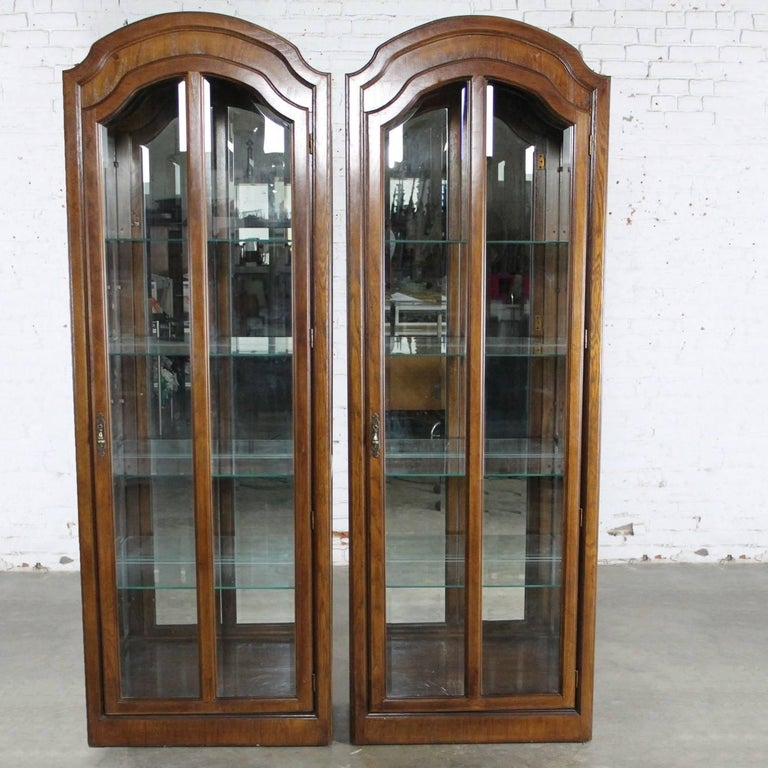 Handsome Pair Of Lighted Curio Cabinets Or Vitrines In A Beautiful Dark Wood With Arched Tops