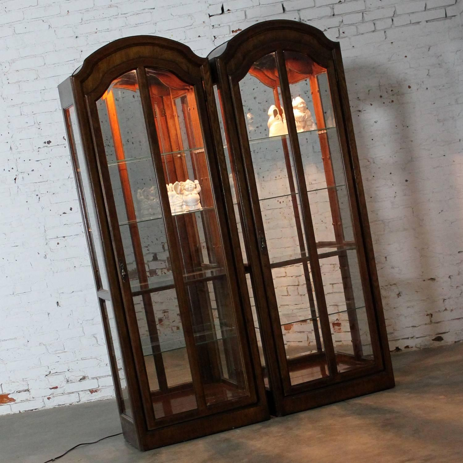Modern Lighted Curio Cabinets With Arched Top In Dark Wood A Vintage, Pair  For Sale