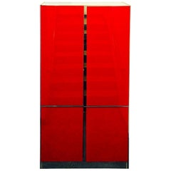 Lighted Ello Red Glass, Chrome & Off-White Laminate Cabinet w/ Shelves & Drawers