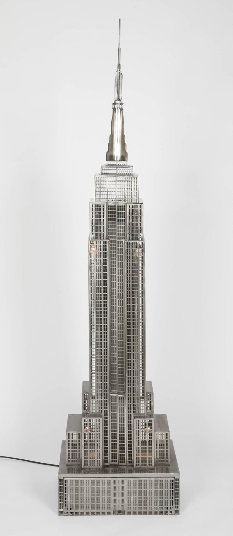 Lighted Steel Sculpture of the Empire State Building For Sale 5