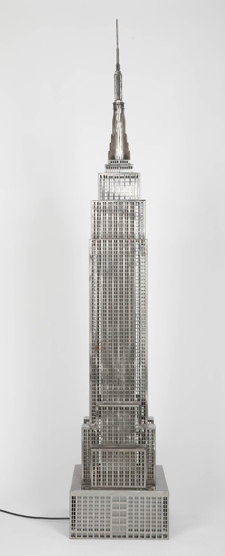 Lighted Steel Sculpture of the Empire State Building For Sale 7