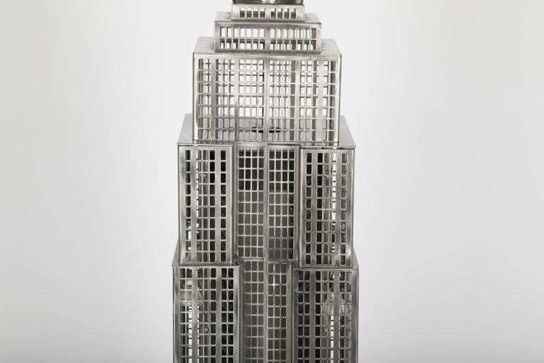 North American Lighted Steel Sculpture of the Empire State Building For Sale