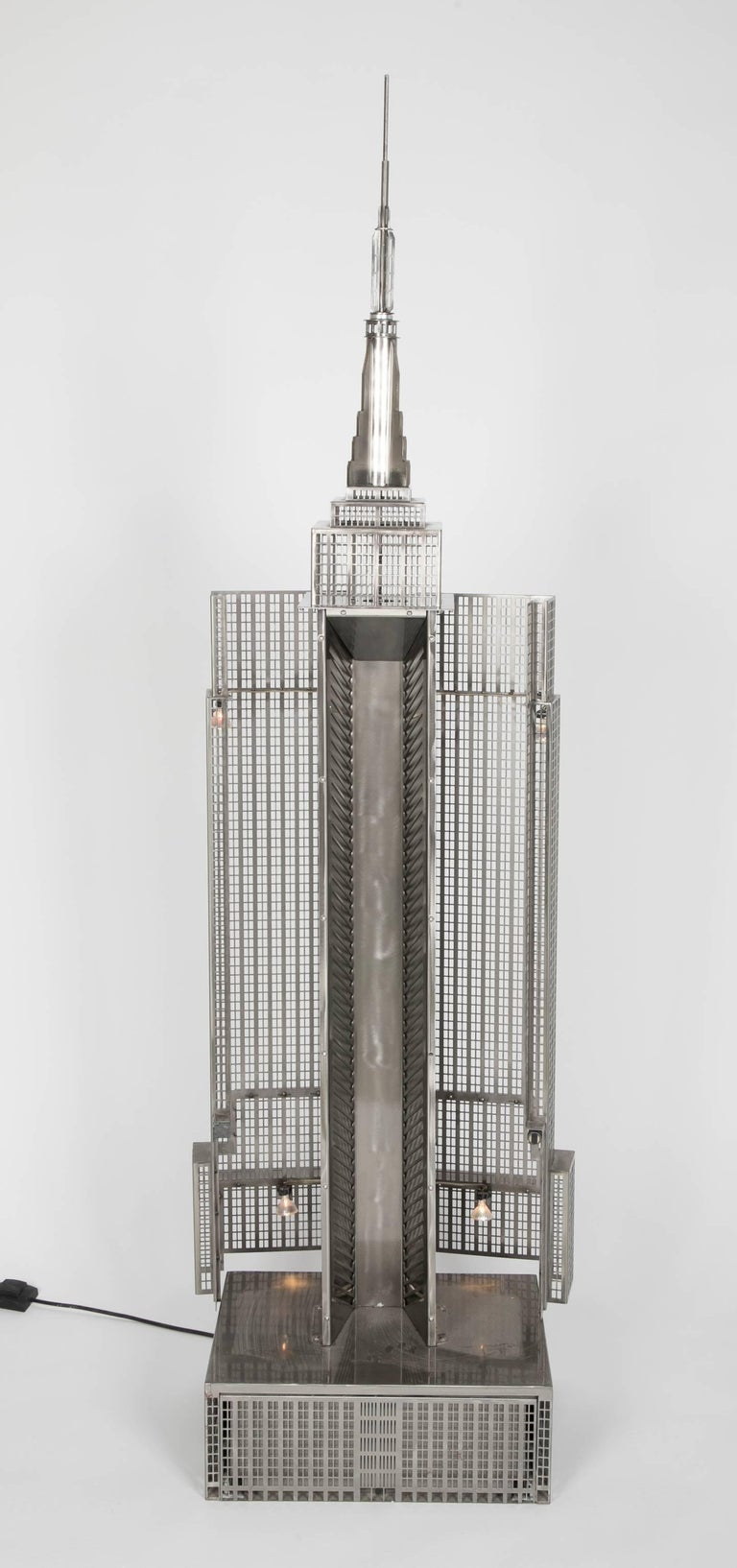 Lighted Steel Sculpture of the Empire State Building For Sale 4