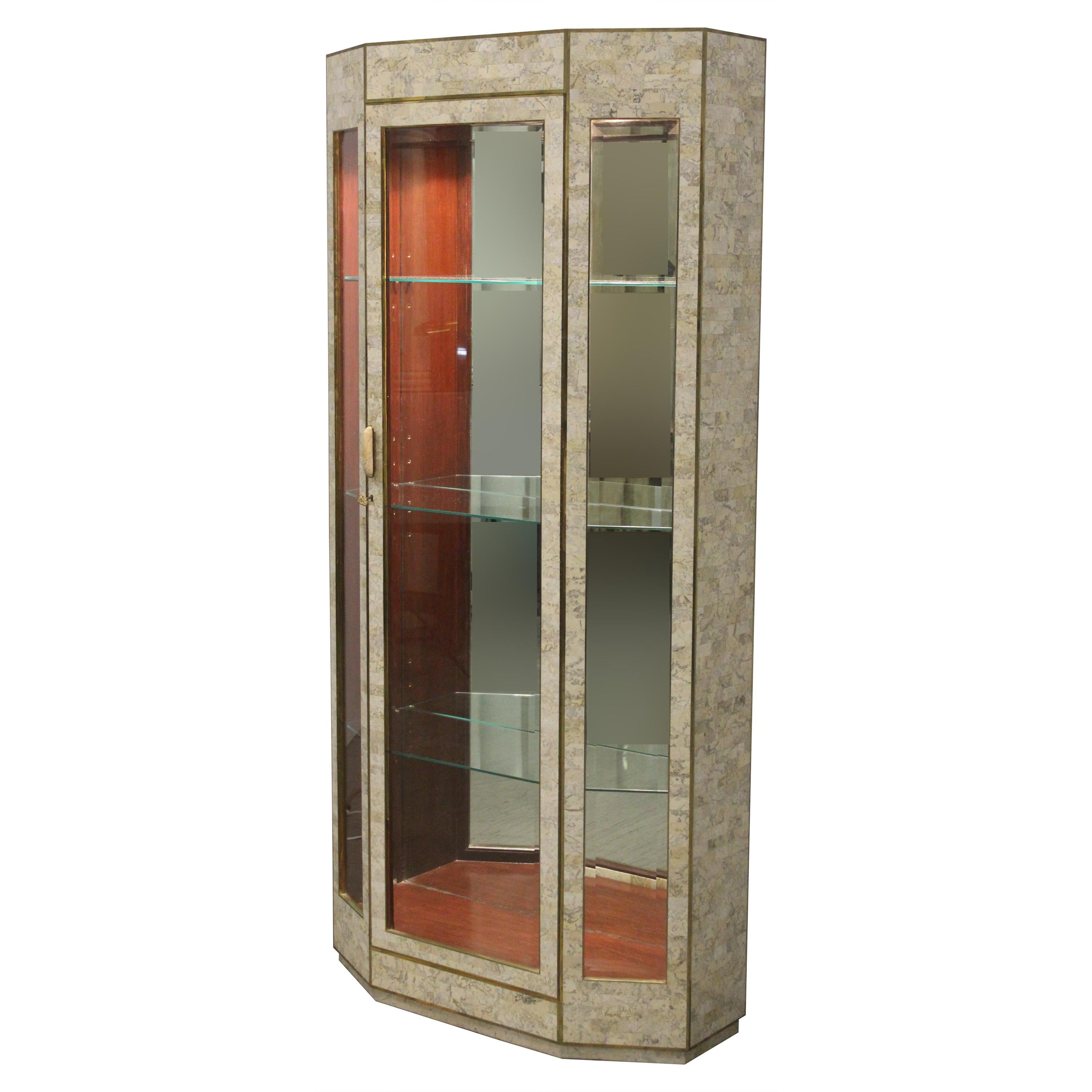 Lighted Tessellated Stone Vitrine Display Case by Maitland Smith, 1980s