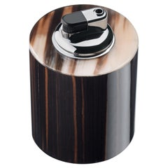Lighter in Corno Italiano, Glossy Ebony and Chromed Brass, Mod. 4706