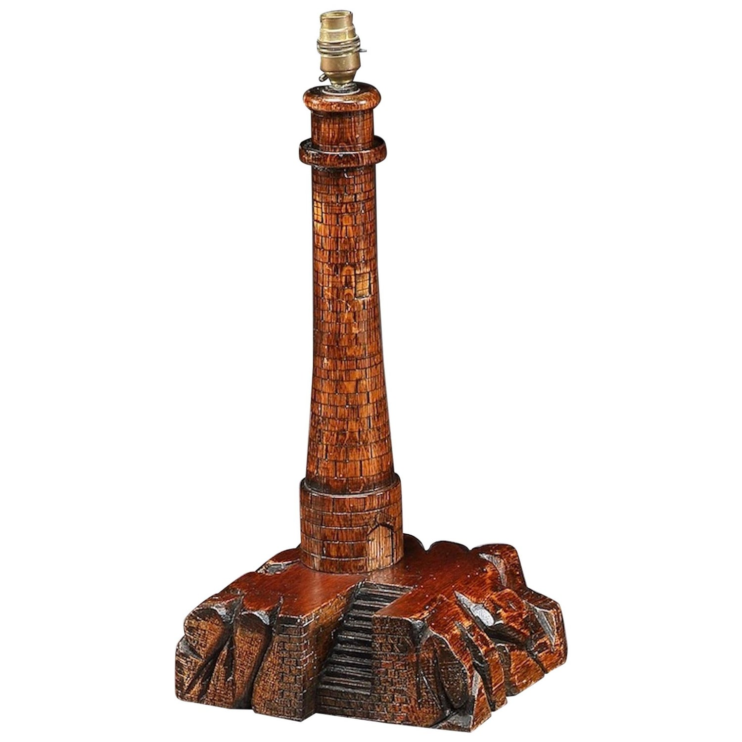 Lighthouse Carving Lamp Table Oak
