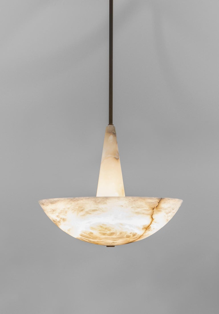 Lighting fixture in alabaster by Garnier & Linker is presented by Anne Jacquemin Sablon  Lighting fixture in alabaster and patinated brass. Alabaster options: white or veined. Brass options: natural brushed, light brushed patina, black patina or