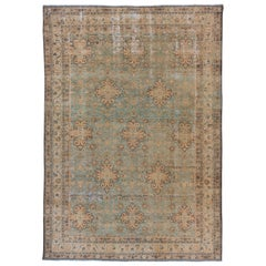 Lightly Distressed Blue Persian Meshed Carpet, circa 1920s