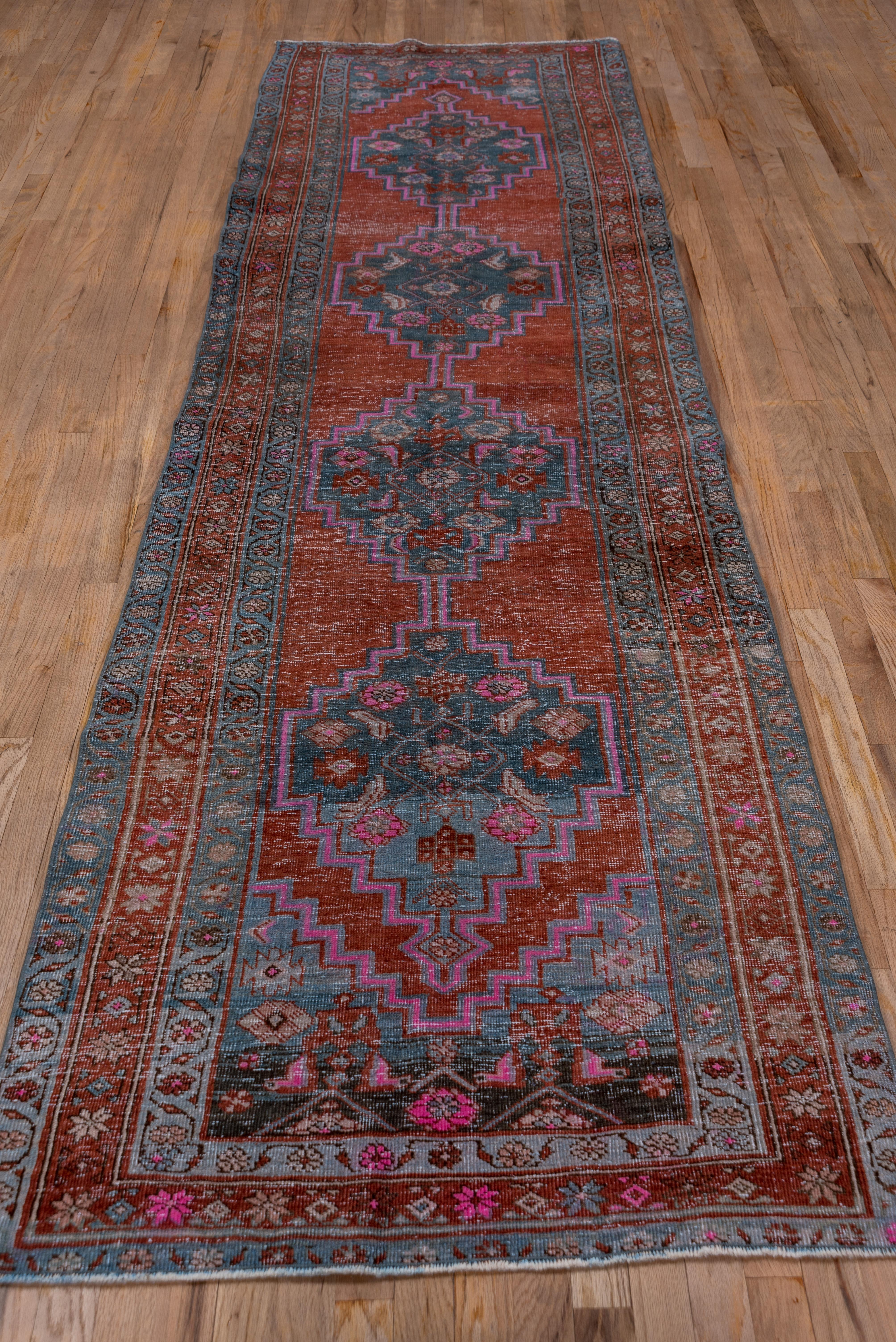 Picture of: Lightly Distressed Blue And Red Persian Heriz Runner Rug With Hot Pink Accents For Sale At 1stdibs