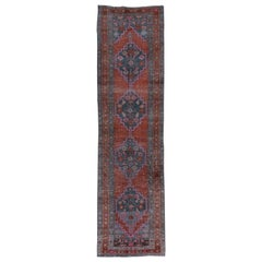 Lightly Distressed Blue and Red Persian Heriz Runner Rug with Hot Pink Accents