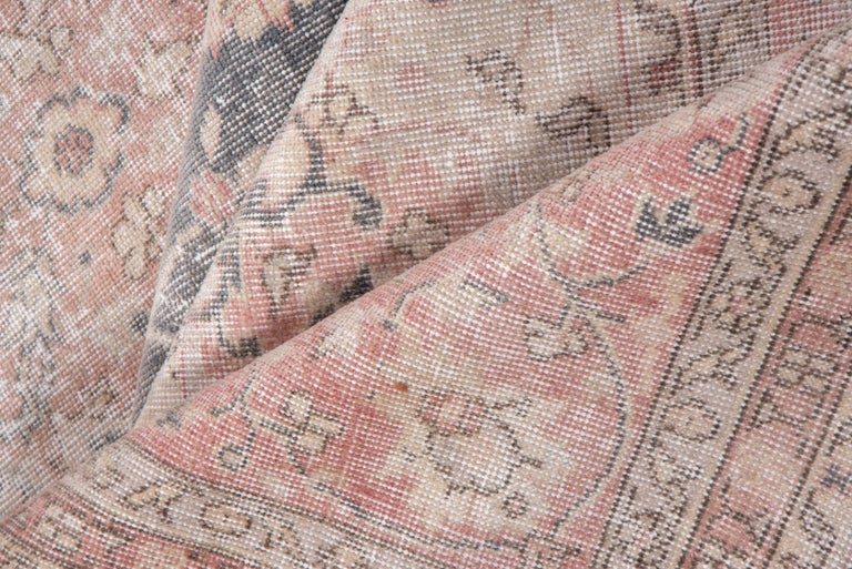 Turkish Lightly Distressed Oushak Carpet, Shabby Chic Style, Gray Field, Pink Border For Sale
