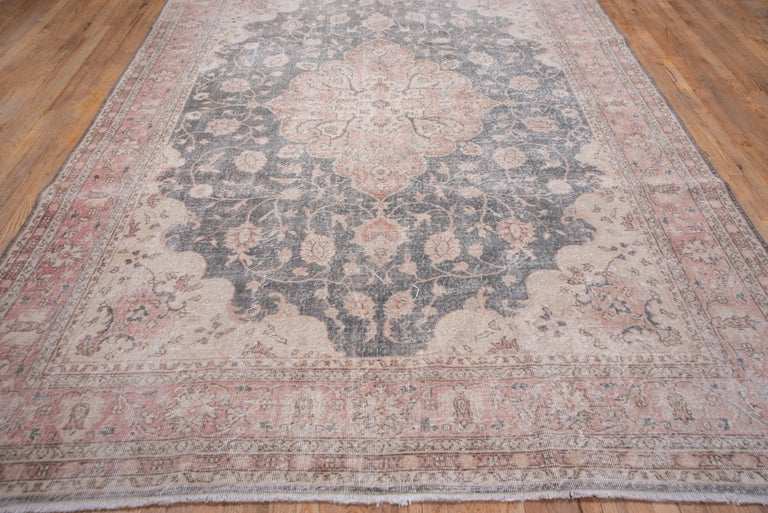 Hand-Knotted Lightly Distressed Oushak Carpet, Shabby Chic Style, Gray Field, Pink Border For Sale