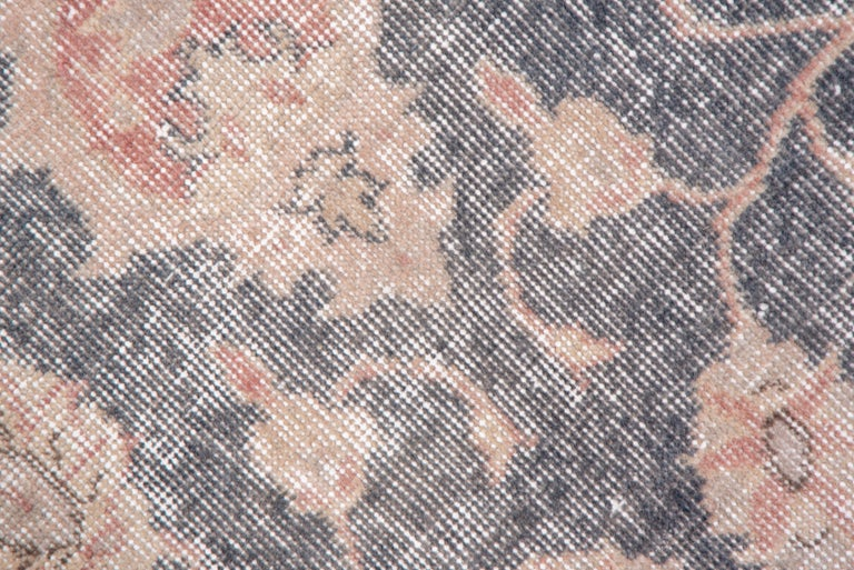 Mid-20th Century Lightly Distressed Oushak Carpet, Shabby Chic Style, Gray Field, Pink Border For Sale
