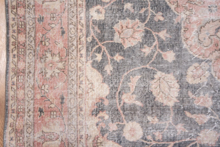 Wool Lightly Distressed Oushak Carpet, Shabby Chic Style, Gray Field, Pink Border For Sale
